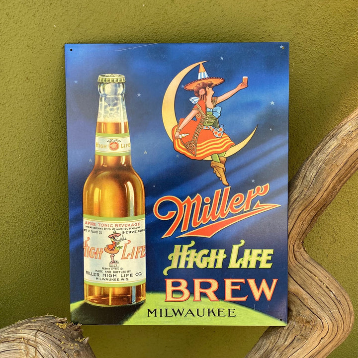 Miller High Life Brew Vintage Looking Tin Tacker Metal Beer Sign