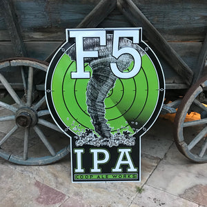 COOP Ale Works F5 IPA Tin Tacker Metal Beer Sign