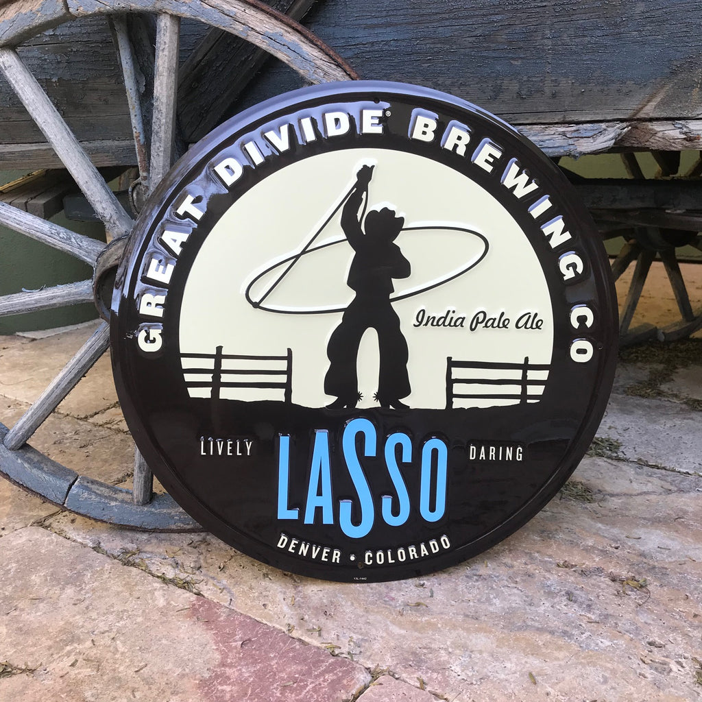 Great Divide Brewing Co Lasso IPA Tin Tacker Metal Beer Sign