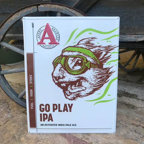 Avery Brewing Co Go Play IPA Tin Tacker Metal Beer Sign