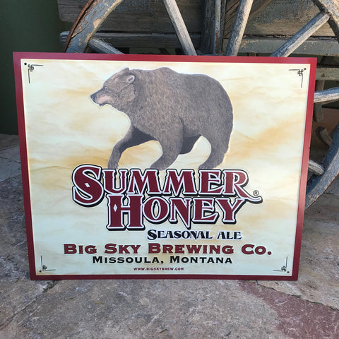 Big Sky Brewing Co Summer Honey Seasonal Ale Tin Tacker Metal Beer Sign