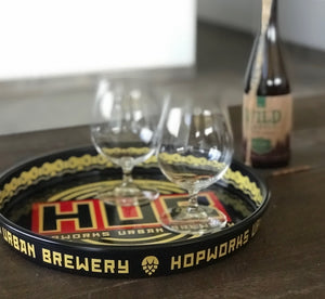 Hopworks Urban Brewery HUB Logo Metal Beer Tray Tin Tacker