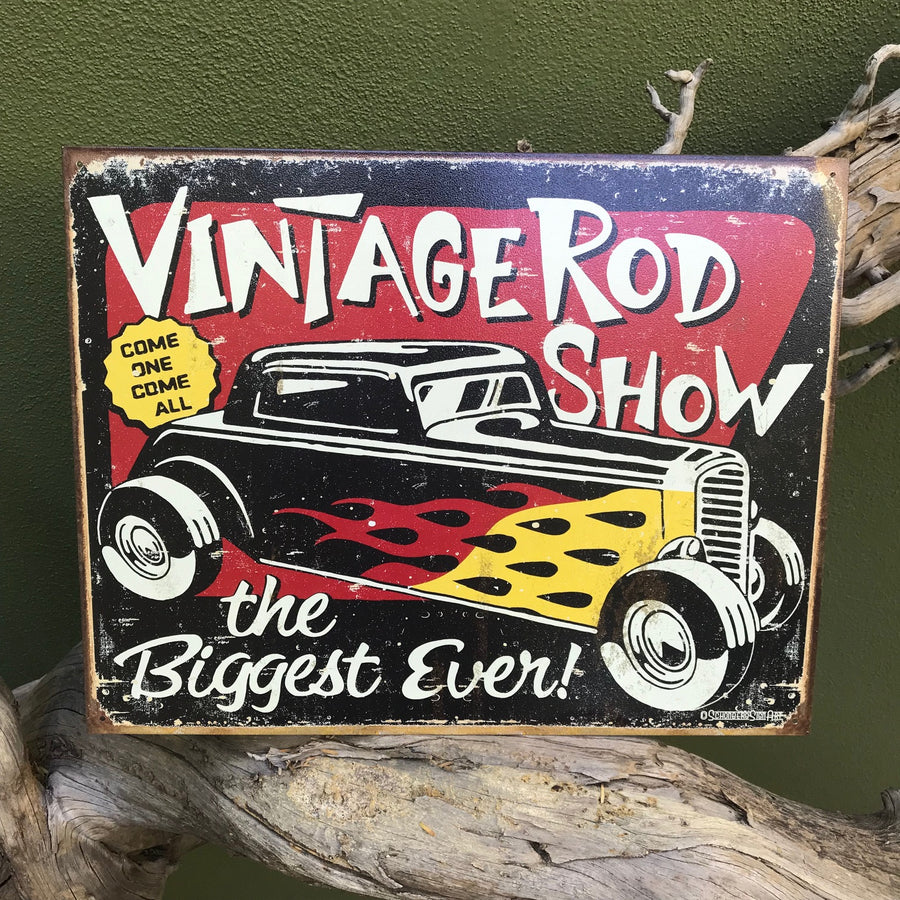 "Vintage Look ""Vintage Rod Show: The Biggest Ever!"" Metal Sign"