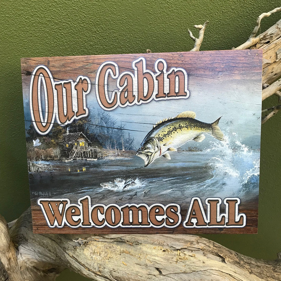"Vintage Look ""Our Cabin Welcomes All"" Metal Sign"
