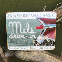 "Vintage Look ""Mel's Drive-In: An American Classic"" Tin Tacker Metal Sign"
