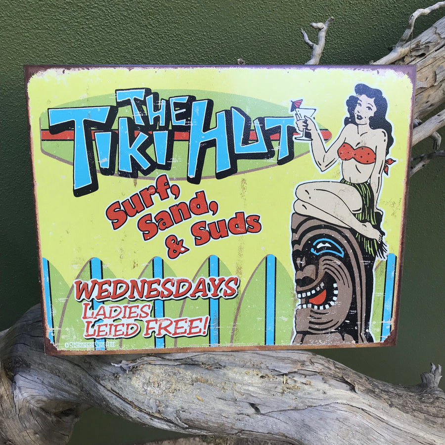 "Vintage Look ""The Tiki Hut - Surf, Sand, and Suds"" Metal Sign Tin Tacker"