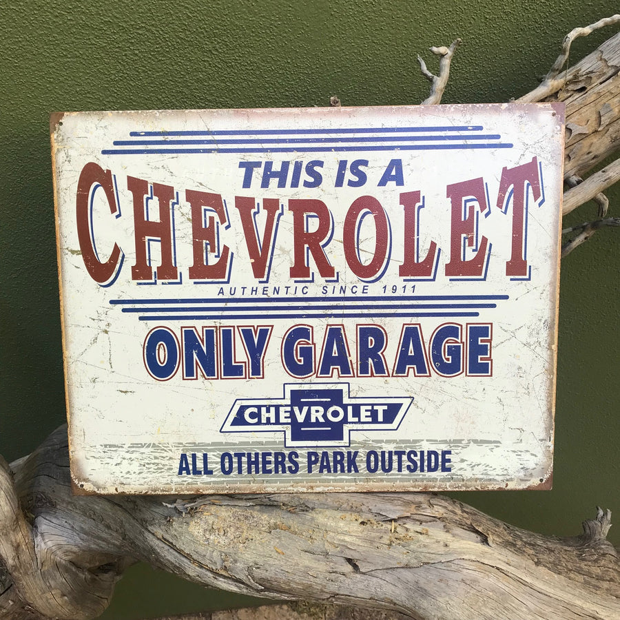 "Vintage Look ""This is a Chevrolet Only Garage"" Tin Tacker Metal Sign"