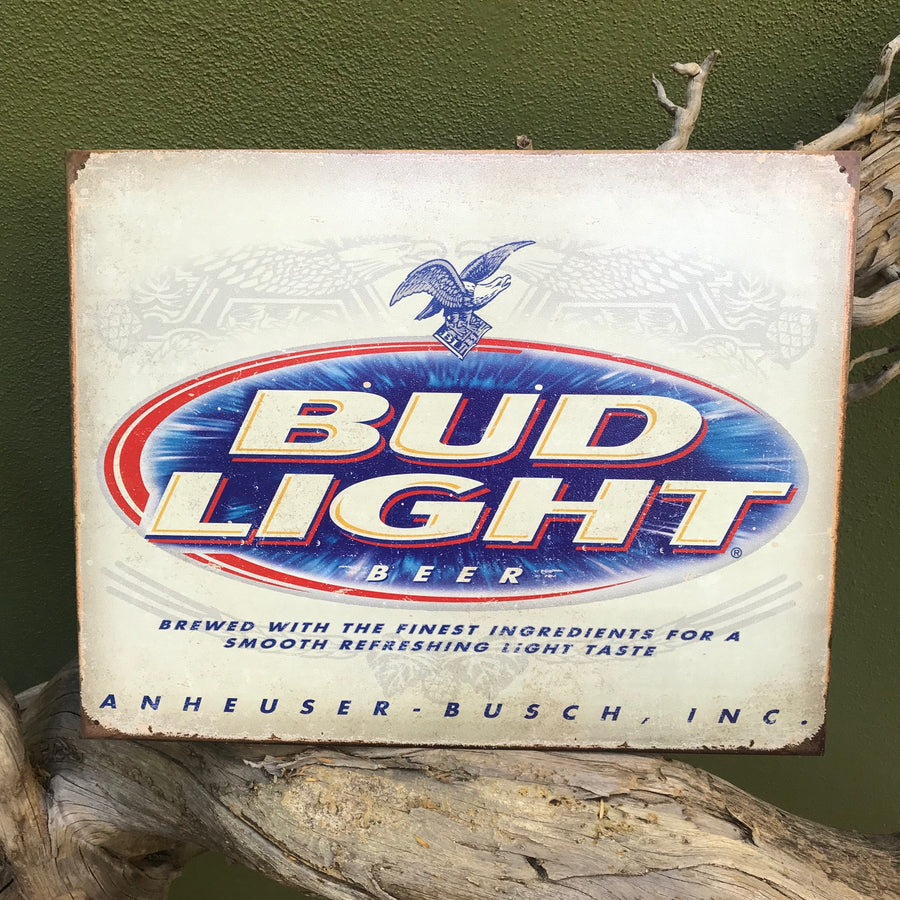 Vintage Look Bud Light Logo Metal Beer Sign Tin Tacker