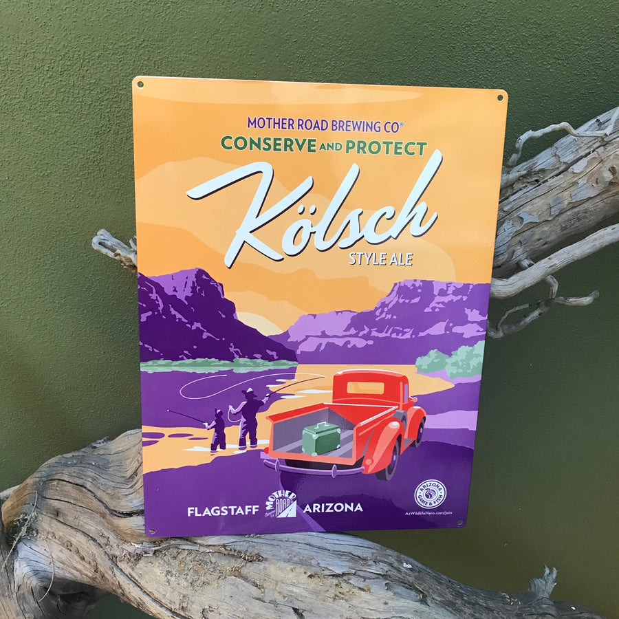 "Mother Road Brewing Co Kolsch ""Conserve and Protect"" AZ Game & Fish Tin Tacker Metal Beer Sign"