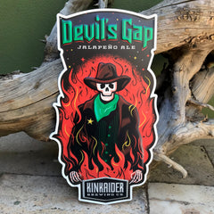 Kinkaider Brewing Co Devil's Gap Jalapeno Ale Tin Tacker Metal Beer Sign
