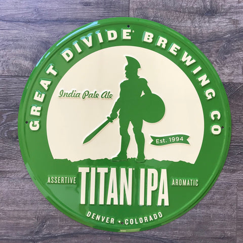Great Divide Brewing Co Titan IPA Tin Tacker Metal Beer Sign