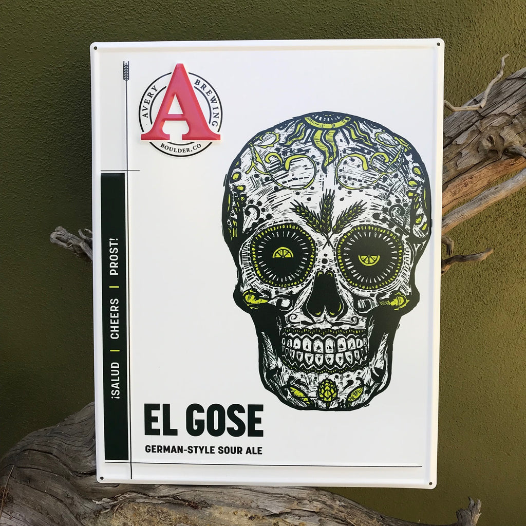 Avery Brewing Co El Gose Embossed Aluminum Sign Tin Tacker