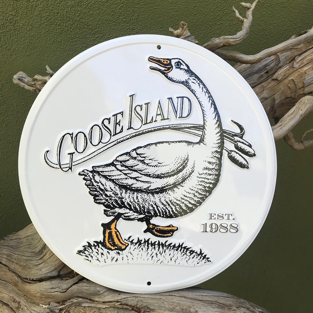 "Goose Island Beer Co ""Mother Goose"" Tin Tacker Metal Beer Sign"