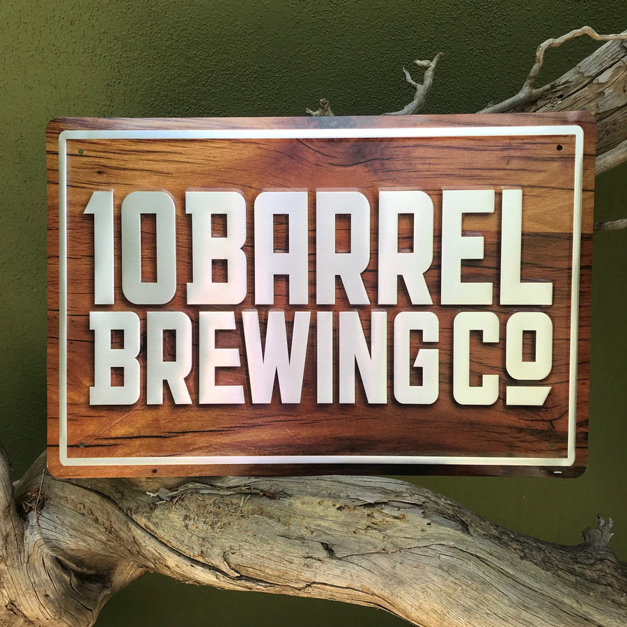 10 Barrel Brewing Logo Wood Grain and Metal Aluminum Beer Sign Tin Tacker