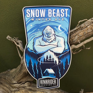 Kinkaider Brewing Co Snow Beast Winter Ale Tin Tacker Metal Beer Sign