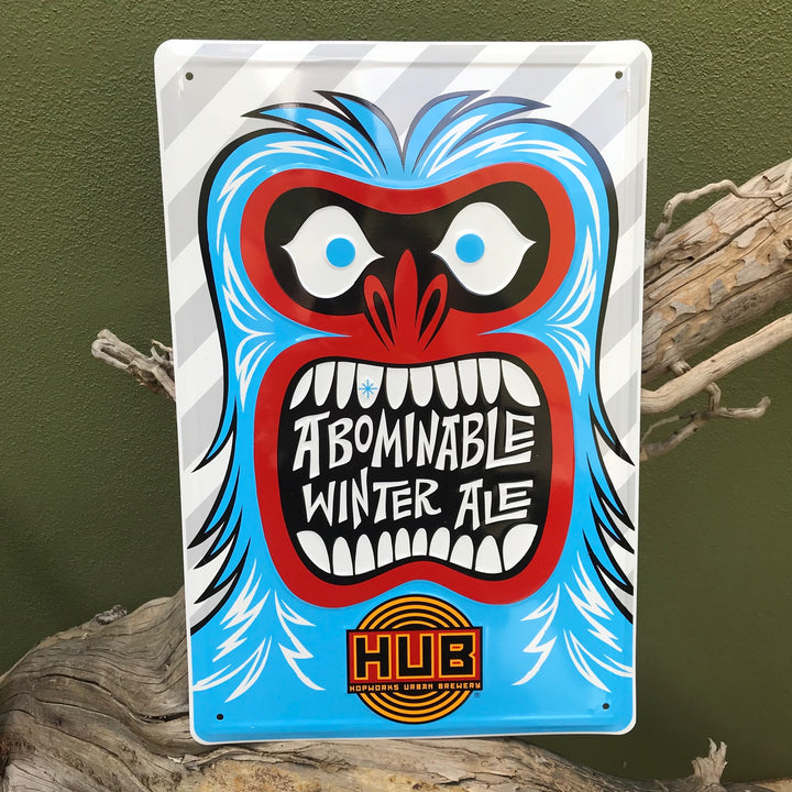 Hopworks Urban Brewery HUB Abominable Winter Ale Metal Beer Sign Tin Tacker