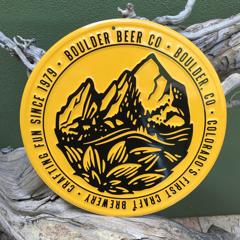 Boulder Beer Co HopIron Logo Tin Tacker Metal Beer Sign