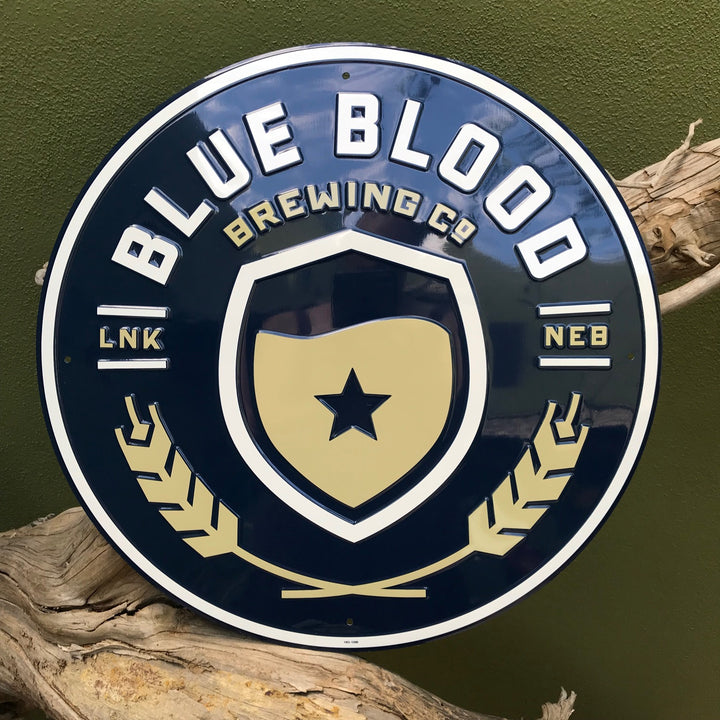 Blue Blood Brewing Co Logo Tin Tacker Metal Beer Sign