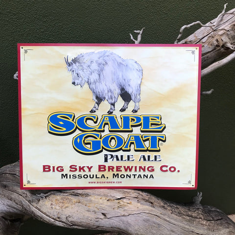 Big Sky Brewing Co Scape Goat Pale Ale Tin Tacker Metal Beer Sign