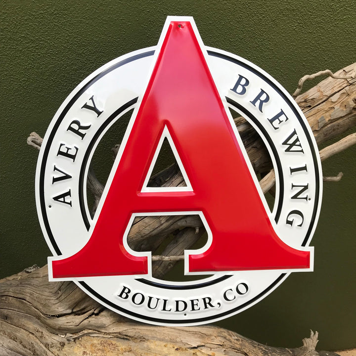 Avery Brewing Co Logo Embossed Aluminum Sign Tin Tacker
