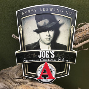 Avery Brewing Co Joe's Premium American Pilsner Embossed Aluminum Sign Tin Tacker