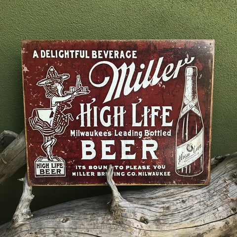 Vintage Look Miller High Life Metal Beer Sign Tin Tacker
