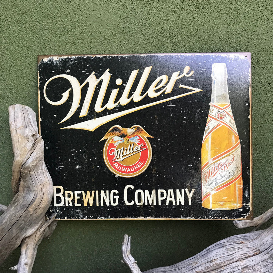 Vintage Look Miller Brewing Co Tin Tacker Metal Beer Sign