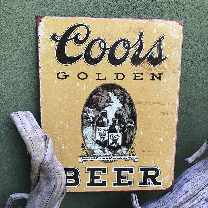 "Vintage Look Coors Brewing Co ""Coors Golden Beer"" Metal Beer Sign Tin Tacker"