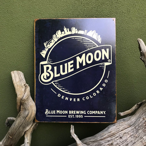 Vintage Look Blue Moon Brewing Co Metal Beer Sign Tin Tacker