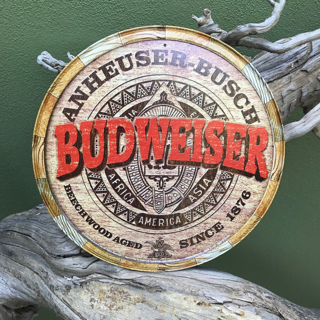 Vintage Look Anheuser-Busch Budweiser Round Metal Beer Sign Tin Tacker