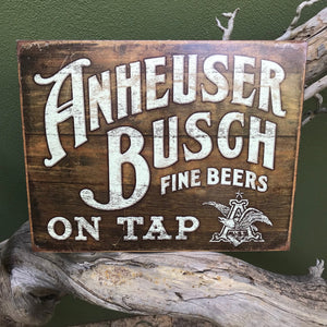 Vintage Look Anheuser-Busch Fine Beers On Tap Metal Beer Sign Tin Tacker