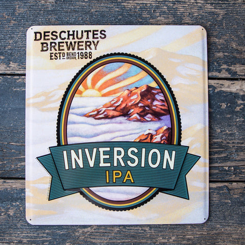 Deschutes Brewery Inversion IPA Tin Tacker Metal Beer Sign