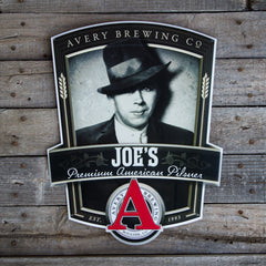 "Avery Brewing Co ""Joe's Premium American Pilsner"" Tin Tacker Metal Beer Sign"