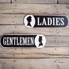 Vintage Look Ladies Metal Restroom Sign Tin Tacker
