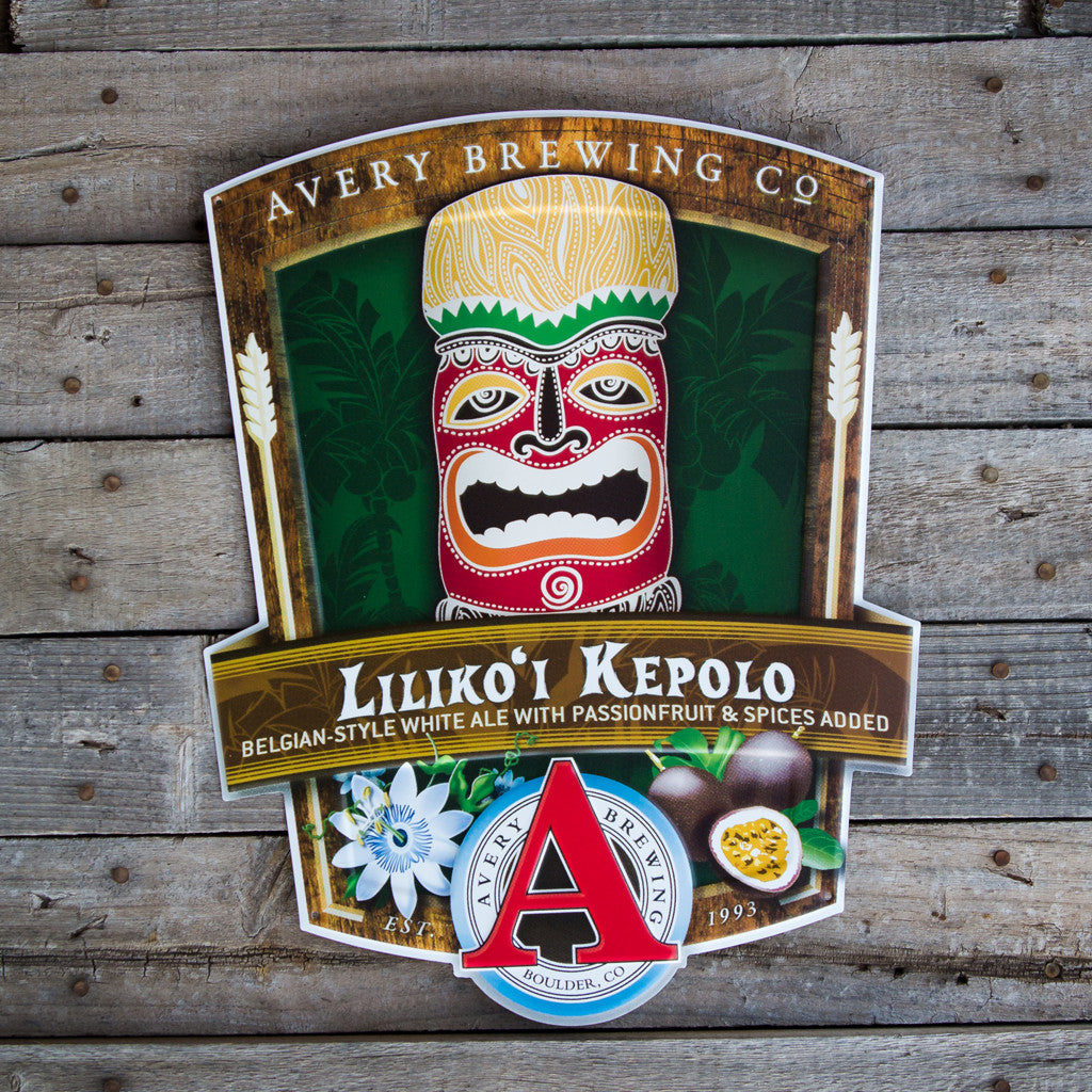 "Avery Brewing Co ""Liliko'i Kepolo"" Tin Tacker Metal Beer Sign"