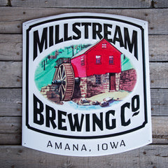 Millstream Brewing Co Logo Tin Tacker Metal Beer Sign