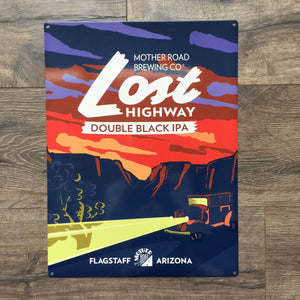 Mother Road Brewing Co Lost Highway Tin Tacker Metal Beer Sign