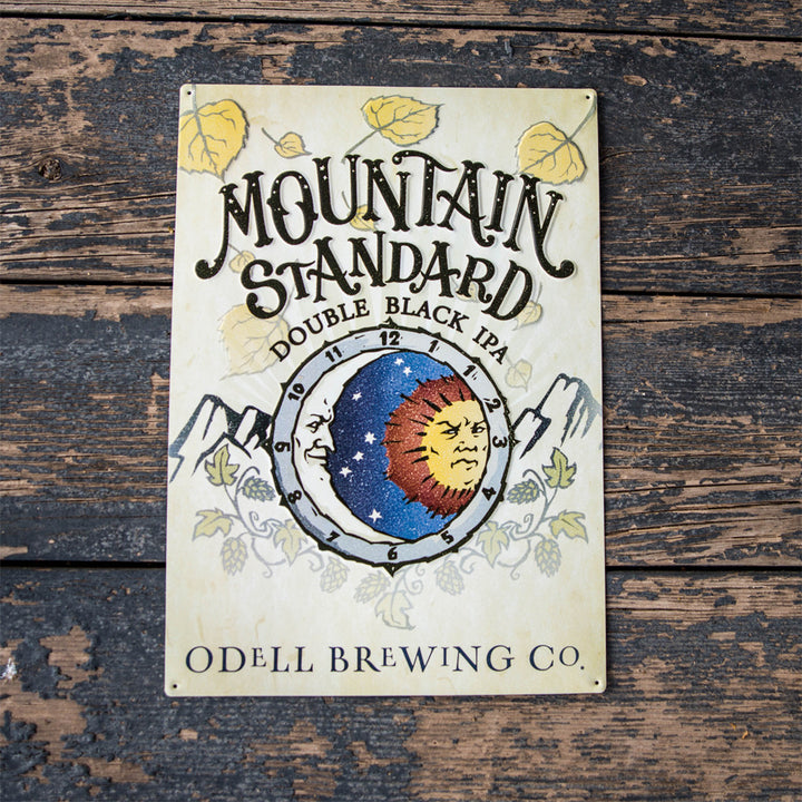 "Odell Brewing Co ""Mountain Standard Double Black IPA"" Tin Tacker Metal Beer Sign"