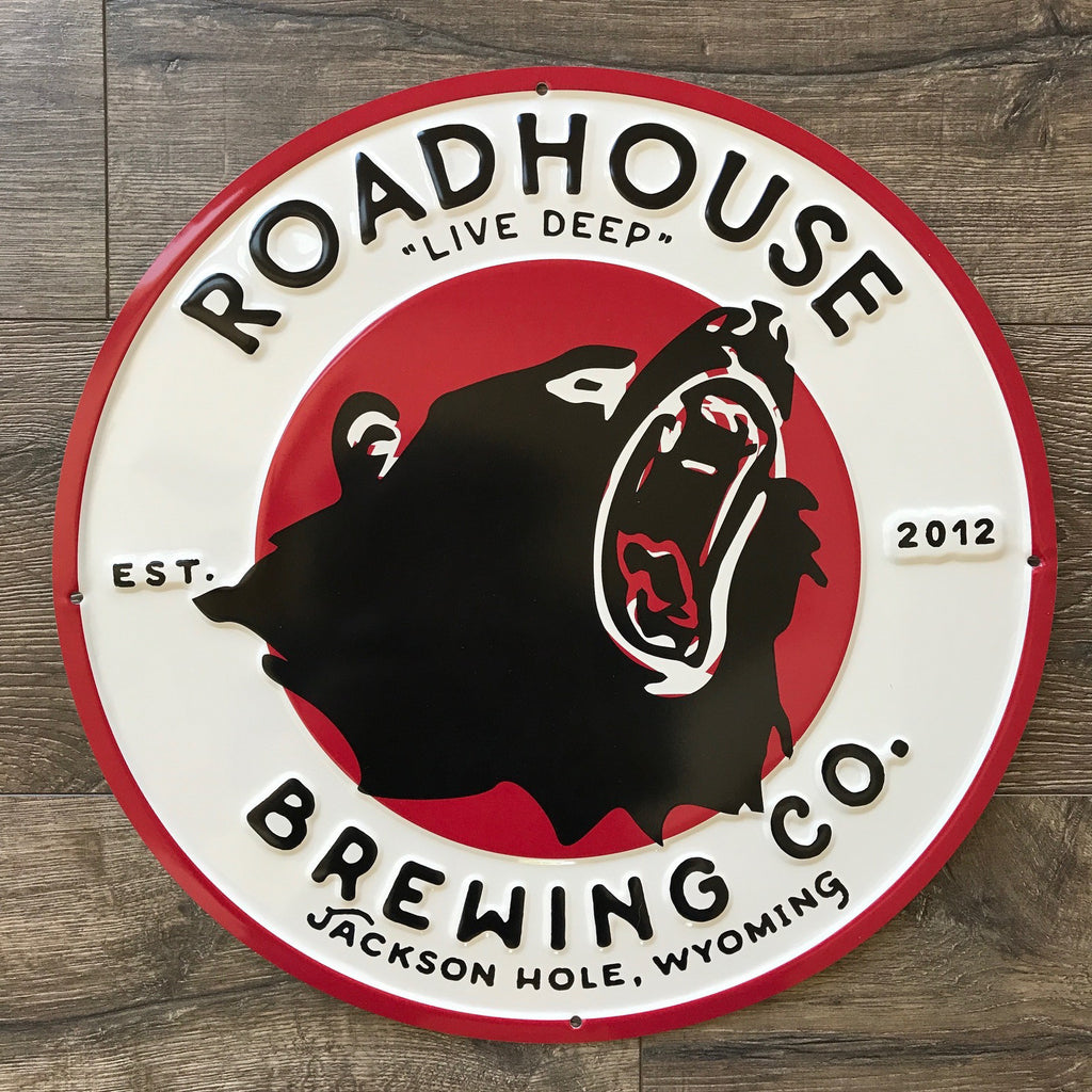 Roadhouse Brewing Co Logo Tin Tacker Metal Beer Sign