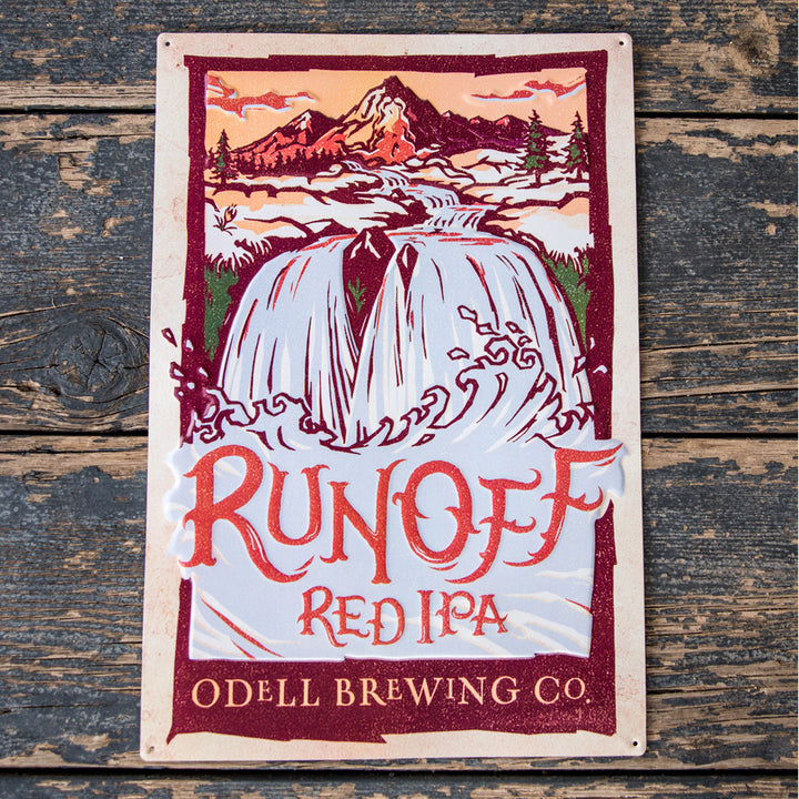 Odell Brewing Co RunOff Red IPA Tin Tacker Metal Beer Sign