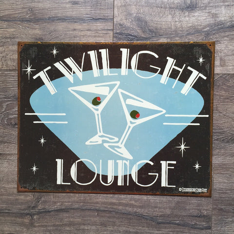 Vintage Look - Twilight Lounge Martinis Metal Sign Tin Tacker
