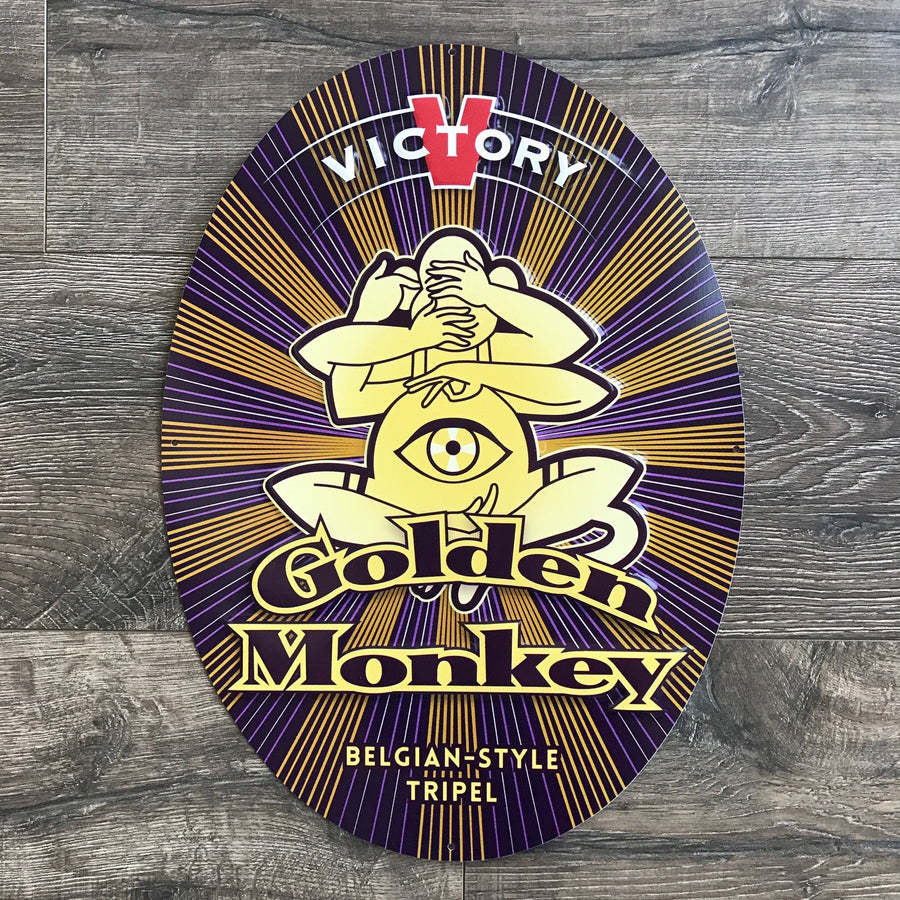 Victory Brewing Co Golden Monkey Tin Tacker Metal Beer Sign