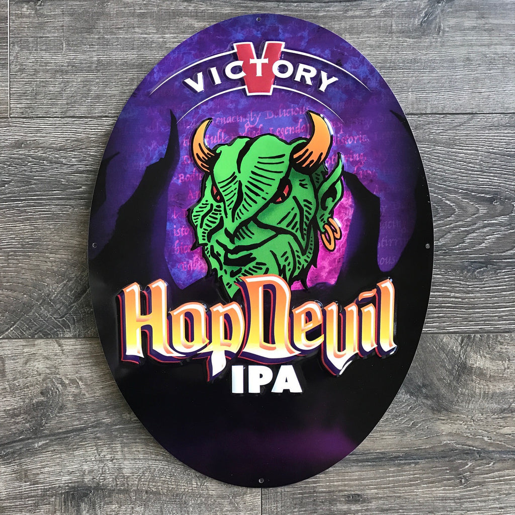 Victory Brewing Co Hop Devil IPA Tin Tacker Metal Beer Sign