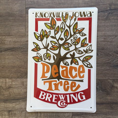 Peace Tree Brewing Co Logo Metal Beer Sign Tin Tacker