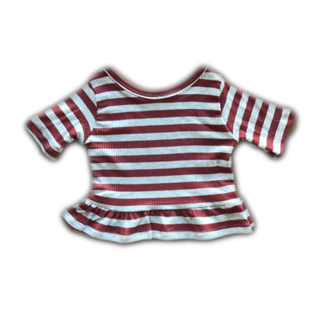 Cinnamon Stripe Three Quarter Sleeve Peplum Top