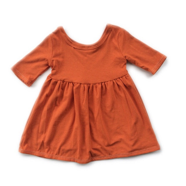 Rust Three Quarter Sleeve Swing Dress