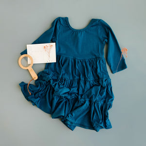 Blue Spruce Three Quarter Sleeve Tiered Twirly Dress