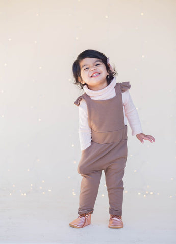 Ruffle Strap Pocket Overall in Cocoa