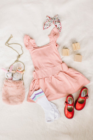 Ruffle Strap Pocket Pinafore in Dusty Pink