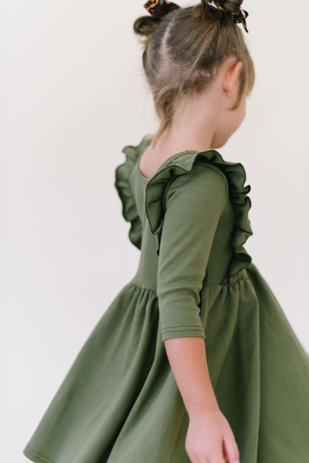 Loden Green Ruffle Bodice Organic Cotton Rib Knit Twirly Dress